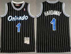 Mens Nba Orlando Magic #1 Anfernee Hardaway Black Stripe Hardwood Classics Swingman Jersey