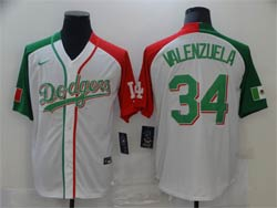 Mens Mlb Los Angeles Dodgers #34 Fernando Valenzuela White Half Edition Cool Base Nike Jersey