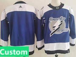 Mens Nhl Tampa Bay Lightning Custom Made Blue 2021 Reverse Retro Alternate Adidas Jersey