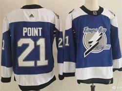 Mens Nhl Tampa Bay Lightning #21 Brayden Point Blue 2021 Reverse Retro Alternate Adidas Jersey