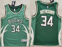 Mens 2021 Nba Milwaukee Bucks #34 Giannis Antetokounmpo Green Earned Edition Nike Swingman Jersey
