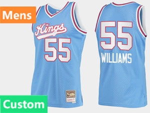Mens Nba Sacramento Kings Custom Made Blue Hardwood Classics Throwback Mitchell&ness 90s Jersey
