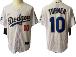 Mens Mlb Los Angeles Dodgers #10 Justin Turner White Golden Blue Number Champions Flex Base Nike Jersey