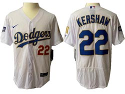 Mens Mlb Los Angeles Dodgers #22 Clayton Kershaw White Golden Blue Number Champions Flex Base Nike Jersey
