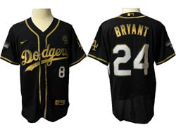 Mens Mlb Los Angeles Dodgers #8&24 Bryant Black Golden Flex Base Nike Jersey