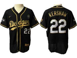 Mens Mlb Los Angeles Dodgers #22 Clayton Kershaw Black Golden Flex Base Nike Jersey