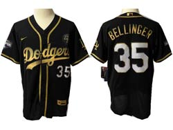 Mens Mlb Los Angeles Dodgers #35 Cody Bellinger Black Golden Flex Base Nike Jersey