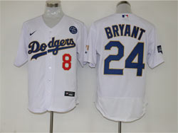 Mens Mlb Los Angeles Dodgers #8&24 Bryant White Golden Blue Number Champions Flex Base Nike Jersey