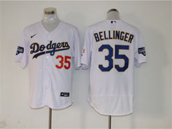 Mens Mlb Los Angeles Dodgers #35 Cody Bellinger White Golden Blue Number Champions Flex Base Nike Jersey
