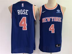 Mens 2021 Nba New York Knicks #4 Derrick Rose Blue Swingman Nike Jersey