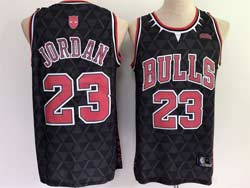 Mens Nba Chicago Bulls & Black Panther #23 Michael Jordan Black Swingman Jersey