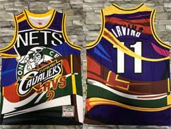 Mens Nba Boston Celtics #11 Kyrie Irving Mitchell&ness Hardwood Classics Colorful Fashion Swingman Jersey