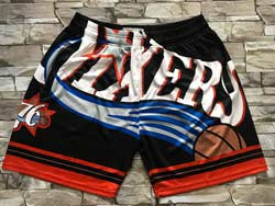 Mens Nba Philadelphia 76ers Black Mitchell&ness Hardwood Classics Pocket Shorts