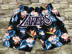 Mens Nba Los Angeles Lakers Flower Mitchell&ness Hardwood Classics Pocket Shorts