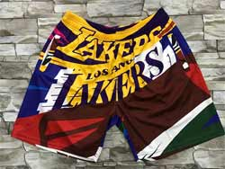 Mens Nba Los Angeles Lakers Colorful Mitchell&ness Hardwood Classics Pocket Shorts