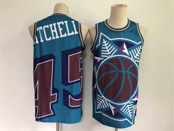 Mens Nba Utah Jazz #45 Donovan Mitchell Blue Big Face Swingman Jersey