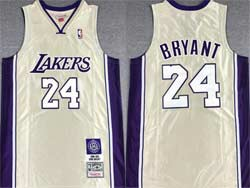Mens Nba Los Angeles Lakers #24 Kobe Bryant White Golden Mitchell&ness Hardwood Classics Swingman Jersey