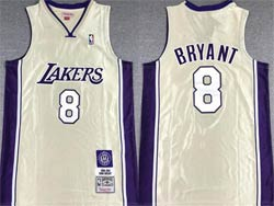 Mens Nba Los Angeles Lakers #8 Kobe Bryant White Golden Mitchell&ness Hardwood Classics Swingman Jersey