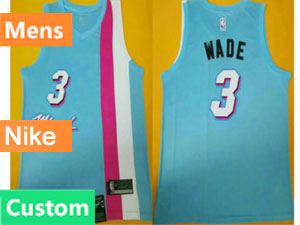 Mens Womens Youth Nba Miami Heat Custom Made Blue Stripe Nike Swingman Jersey