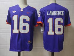 Mens Ncaa Nfl Clemson Tigers #16 Lawrence Purple Nike Jersey