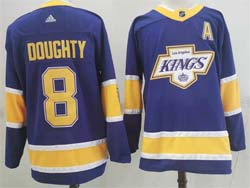 Mens Nhl Los Angeles Kings #8 Drew Doughty Purple 2021 Reverse Retro Alternate Adidas Jersey With A Patch