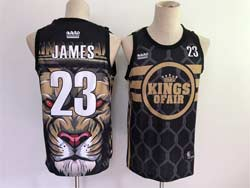 Mens Nba Los Angeles Lakers #23 Lebron James Black Lion Face Swingman Jersey