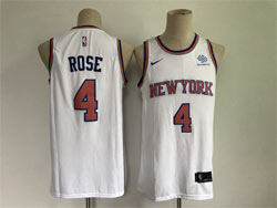 Mens 2021 Nba New York Knicks #4 Derrick Rose White Swingman Nike Jersey
