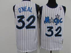 Mens Nba Orlando Magic #32 Shaouille O'neal White Stripe 1994-95 Mitchell&ness Hardwood Classics Swingman Jersey
