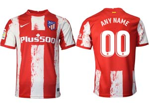 Mens 21-22 Soccer Atletico De Madrid Club ( Custom Made ) Red And White Stripe Home Thailand Short Sleeve Jersey