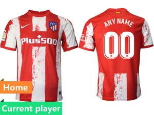Mens 21-22 Soccer Atletico De Madrid Club Current Player Red And White Stripe Home Thailand Short Sleeve Jersey