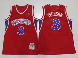 Mens Nba Philadelphia 76ers #3 Allen Iverson Red 96-97 Mitchell&ness Hardwood Classics Retired Player Swingman Jersey