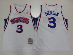 Mens Nba Philadelphia 76ers #3 Allen Iverson White 96-97 Mitchell&ness Hardwood Classics Retired Player Swingman Jersey