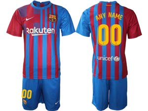 Mens Kids 21-22 Soccer Barcelona Club ( Custom Made ) Red And Blue Stripe Home Short Sleeve Suit Jersey