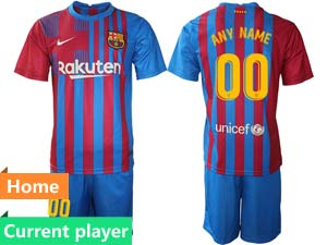 Mens Kids 21-22 Soccer Barcelona Club Current Player Red And Blue Stripe Home Short Sleeve Suit Jersey