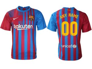 Mens 21-22 Soccer Barcelona Club ( Custom Made ) Red And Blue Stripe Home Thailand Short Sleeve Jersey