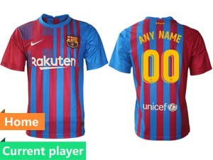 Mens 21-22 Soccer Barcelona Club Current Player Red And Blue Stripe Home Thailand Short Sleeve Jersey