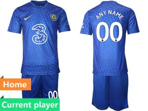 Mens 21-22 Soccer Chelsea Club Current Player Blue Home Short Sleeve Suit Jersey