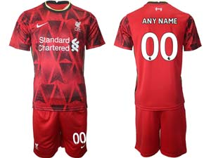 Mens 21-22 Soccer Liverpool Club ( Custom Made ) Red Home Short Sleeve Suit Jersey