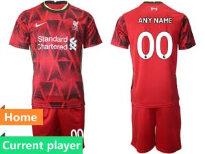 Mens 21-22 Soccer Liverpool Club Current Player Red Home Short Sleeve Suit Jersey