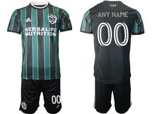 Mens 21-22 Soccer Los Angeles Galaxy Club ( Custom Made ) Green Black Stripe Away Short Sleeve Suit Jersey