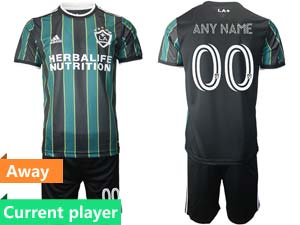 Mens 21-22 Soccer Los Angeles Galaxy Club Current Player Green Black Stripe Away Short Sleeve Suit Jersey
