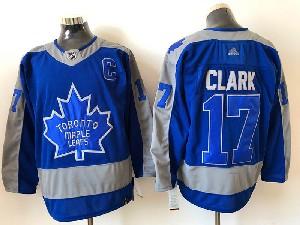 Mens Nhl Toronto Maple Leafs #17 Wendel Clark Blue 2021 Reverse Retro Alternate Adidas Jersey