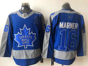 Mens Nhl Toronto Maple Leafs #16 Mitchell Marner Blue 2021 Reverse Retro Alternate Adidas Jersey