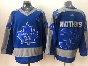 Mens Nhl Toronto Maple Leafs #34 Auston Matthews Blue 2021 Reverse Retro Alternate Adidas Jersey