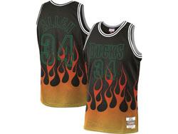 Mens Nba Milwaukee Bucks #34 Giannis Antetokounmpo Black Flames Mitchell&ness Hardwood Classics Swingman Jersey