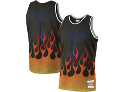 Mens Nba Orlando Magic #1 Anfernee Hardaway Black Flames Mitchell&ness Hardwood Classics Swingman Jersey