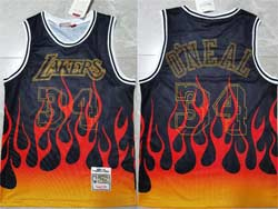 Mens Nba Los Angeles Lakers #34 Shaquille O'neal Black Flames Mitchell&ness Hardwood Classics Swingman Jersey