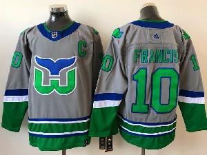 Mens Nhl Hartford Whalers #10 Francis  Gray 2021 Reverse Retro Alternate Adidas Jersey