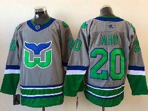 Mens Nhl Hartford Whalers #20 Aho Gray 2021 Reverse Retro Alternate Adidas Jersey