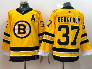Mens Nhl Boston Bruins #37 Patrice Bergeron Yellow 2021 Reverse Retro Alternate Adidas Jersey
